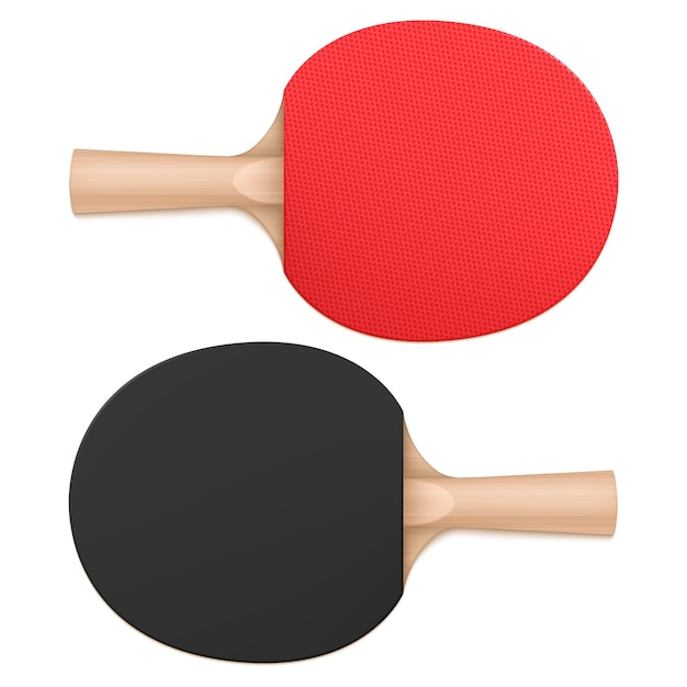 Ping pong paddles, table tennis rackets top and bottom view. sports equipment with wooden handle and rubber red and black bat surface isolated on white background, realistic 3d vector illustration Free Vector