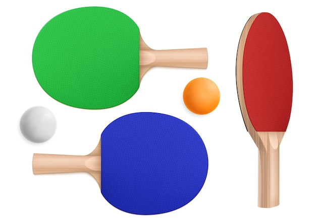 Ping pong rackets and balls, table tennis equipment in top and perspective Free Vector