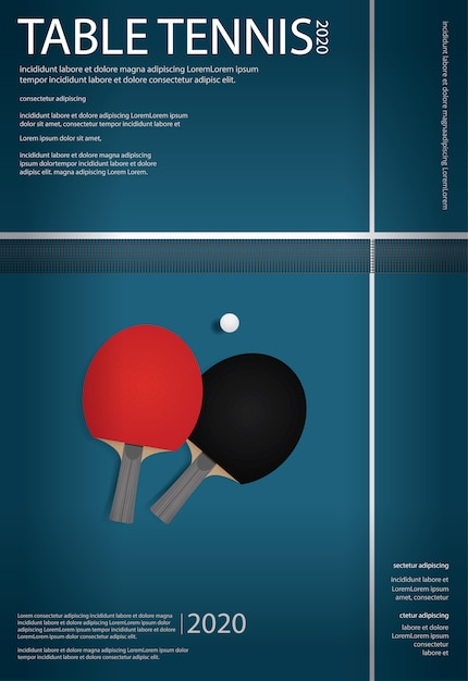 Pingpong poster template vector illustration Free Vector