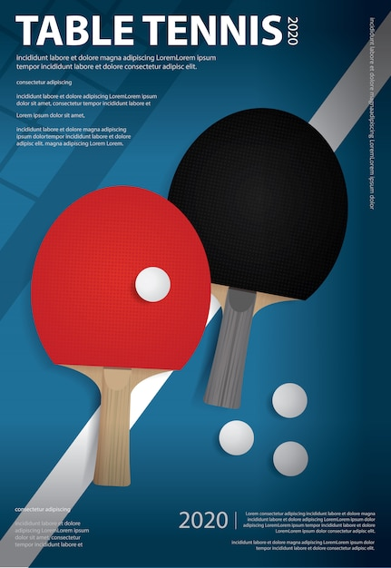 Pingpong poster template Premium Vector