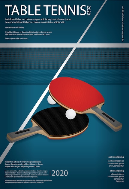 Pingpong table tennis poster template illustration Free Vector