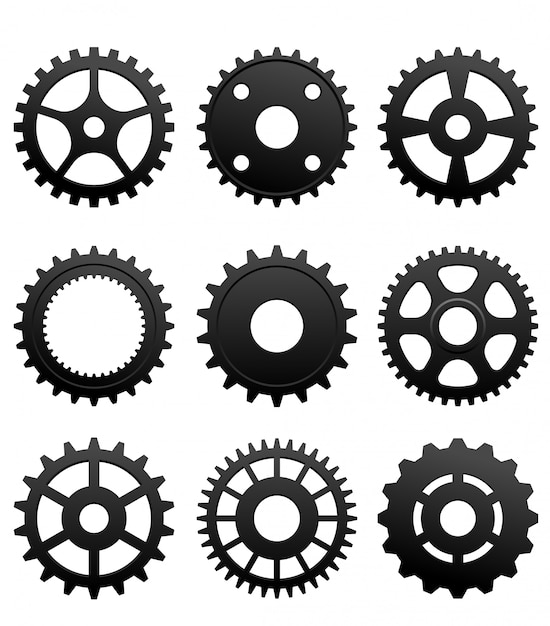 Pinions and gears Premium Vector