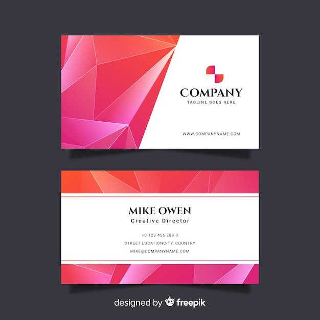 Pink abstract geometric business card Free Vector
