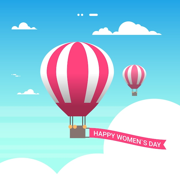 Pink air balloon in sky with happy women day 8 march greeting card in retro style Premium Vector