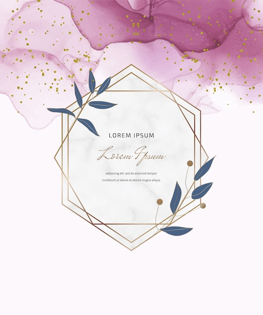 Pink alcohol ink card with geometric marble frames and leaves, confetti. abstract hand painted background. Premium Vector
