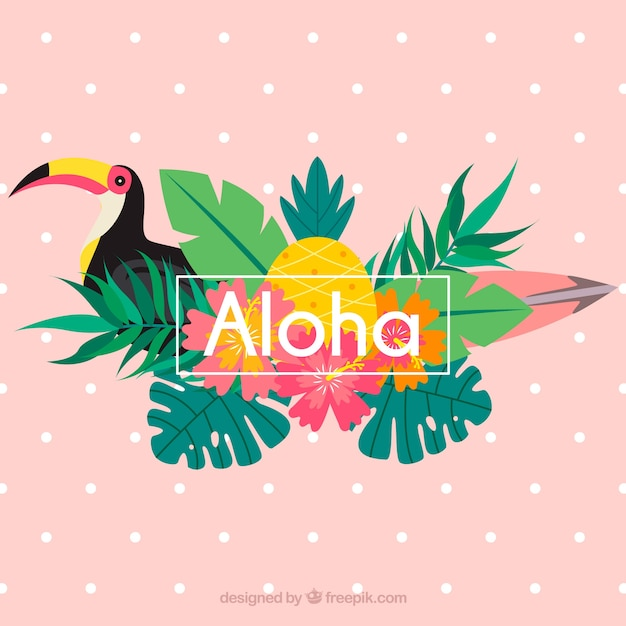Pink aloha background with toucan and\ leaves
