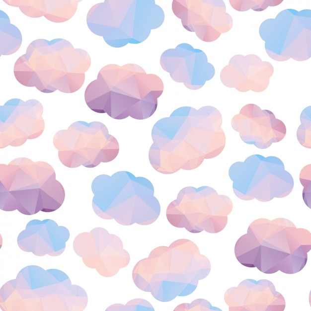 Pink and blue coud pattern Free Vector