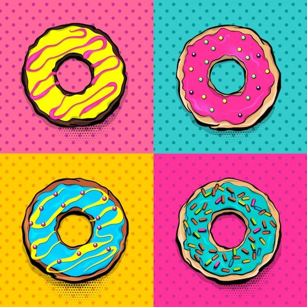 Мультяшный розовый и голубой десерты в стиле поп арт Premium векторы