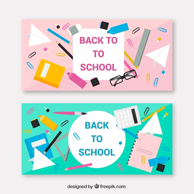 Pink and blue flat back to school banners