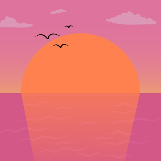 Pink and orange sunset scenery vector art work background