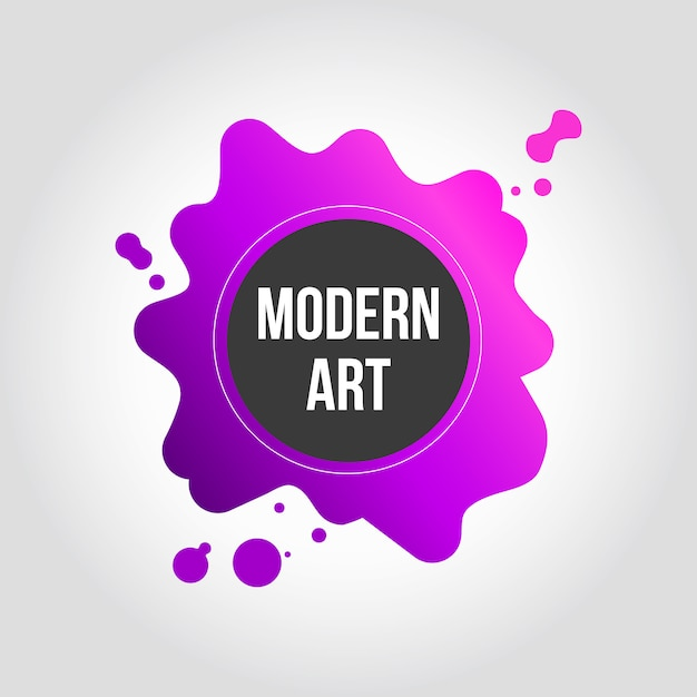 Pink and purple splash modern art banner design Free Vector