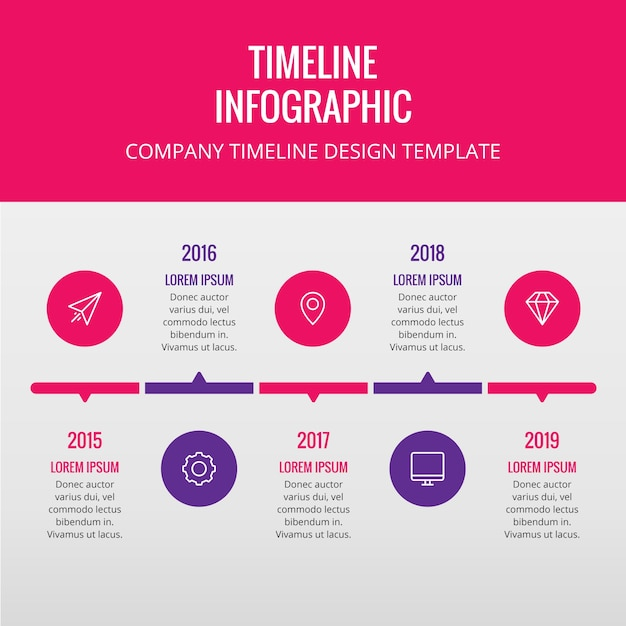 Pink and purple timeline Free Vector