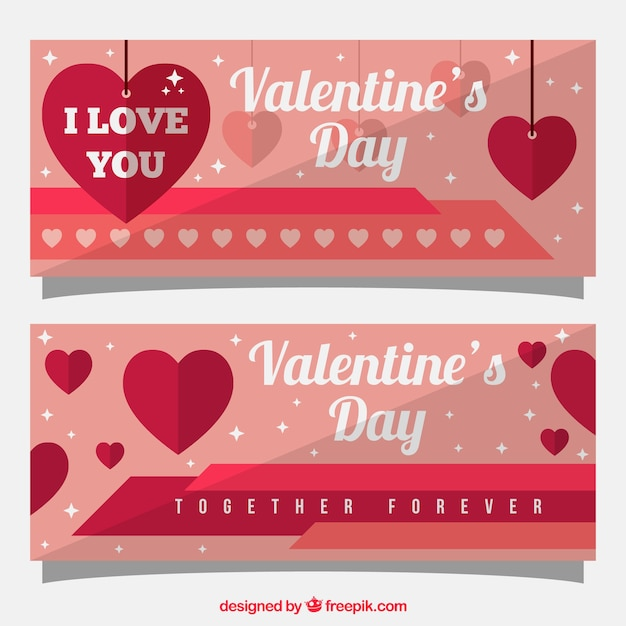 Pink and red banners with hearts and stars for valentine's day Free Vector