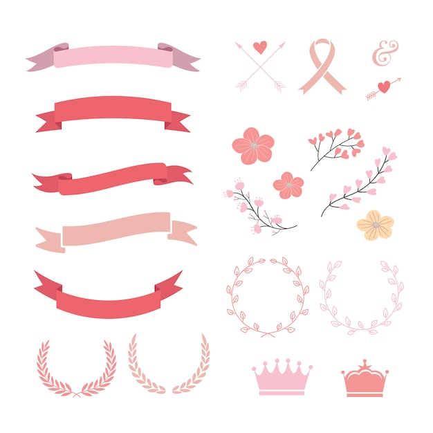 Pink and red ribbons collection Free Vector