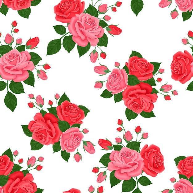 분홍색과 빨간 장미 완벽 한 패턴입니다. 프리미엄 벡터