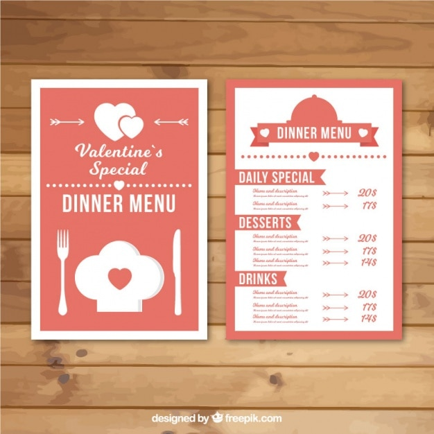 Pink And White Menu Template For Valentineu0027s Day Free Vector