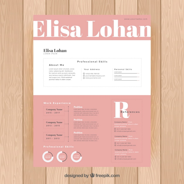Pink and white resume template Free Vector