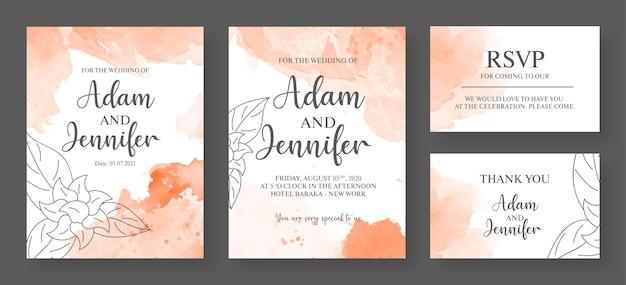 분홍색과 흰색 결혼식 초대 카드 프리미엄 템플릿-수채화 초대 카드 프리미엄 벡터