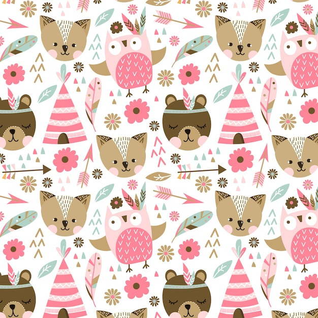 Pink animals pattern Free Vector