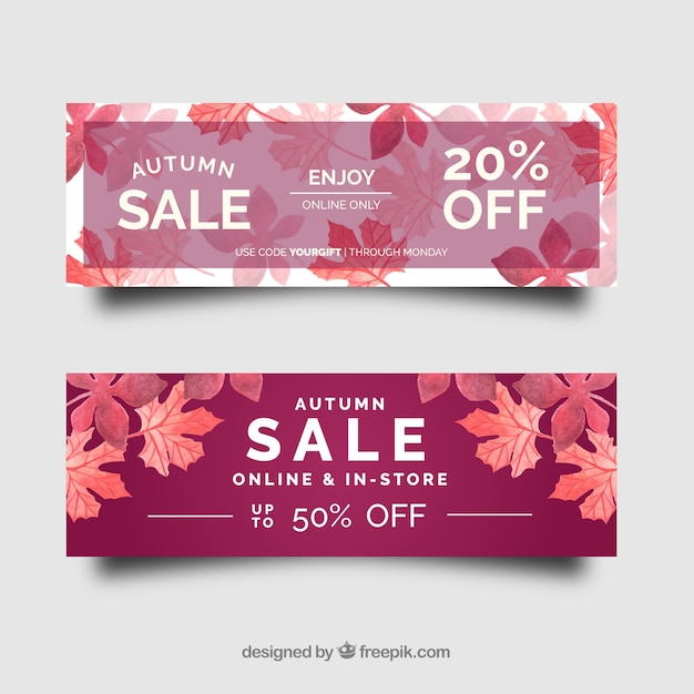Pink autumn sale banners Free Vector