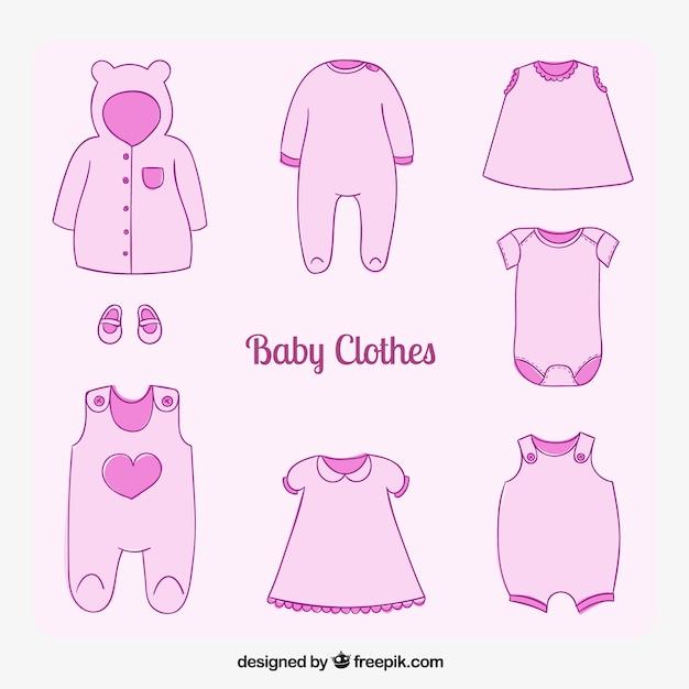 Pink baby clothes Vector   Premium Download
