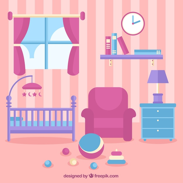 Pink Baby Room With Crib And Toys On The Floor Vector