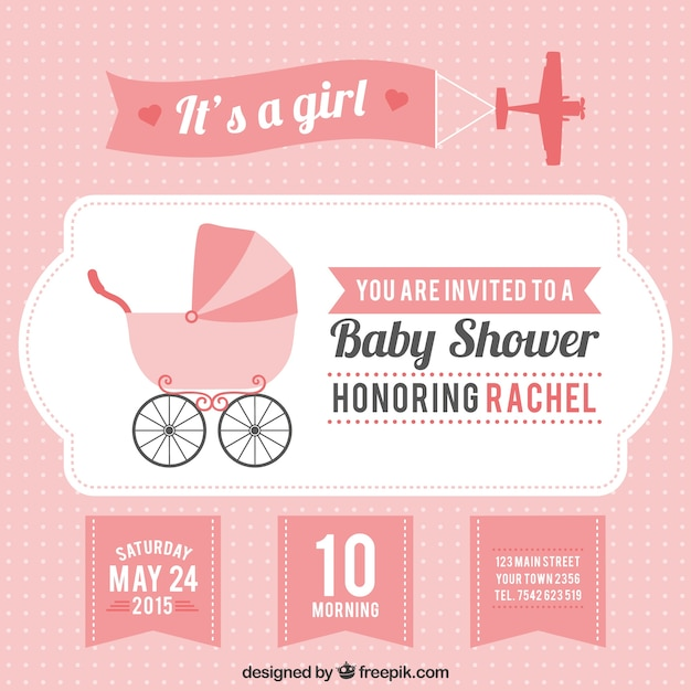 pink baby shower card for girl vector  free download, Baby shower invitation
