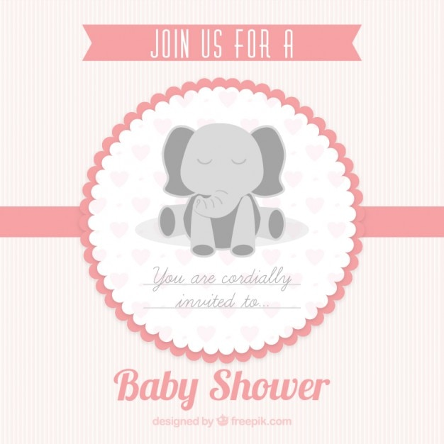 Pink baby shower card for girl