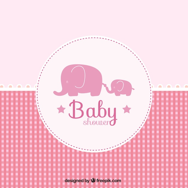 pink baby shower card in checkered style 23