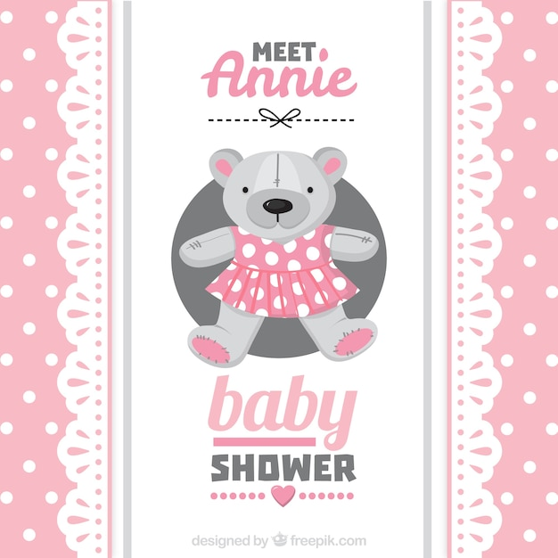 Pink baby shower card with a teddy bear Vector | Premium Download