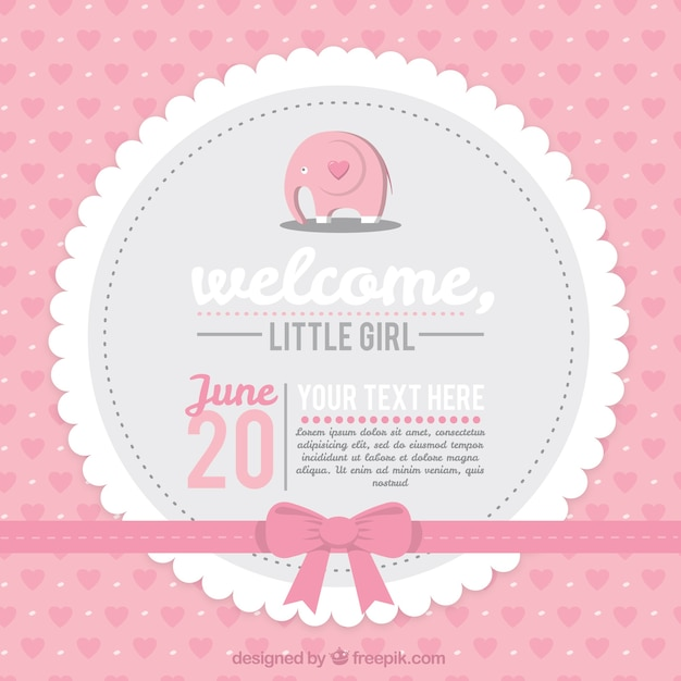 Pink baby shower card Free Vector