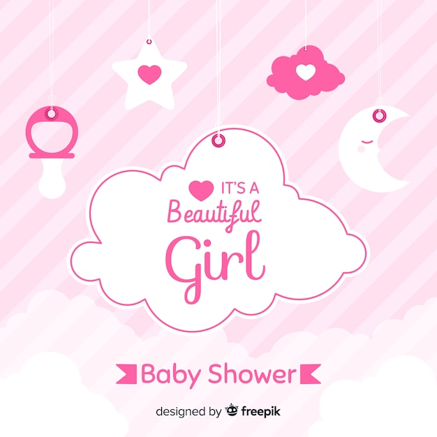 Pink baby shower design for girl Free Vector