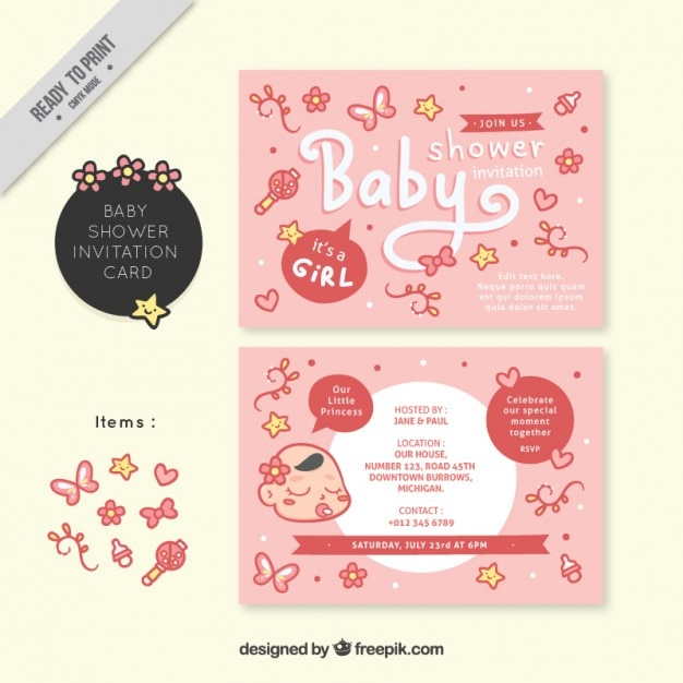 Pink baby shower invitation for a girl