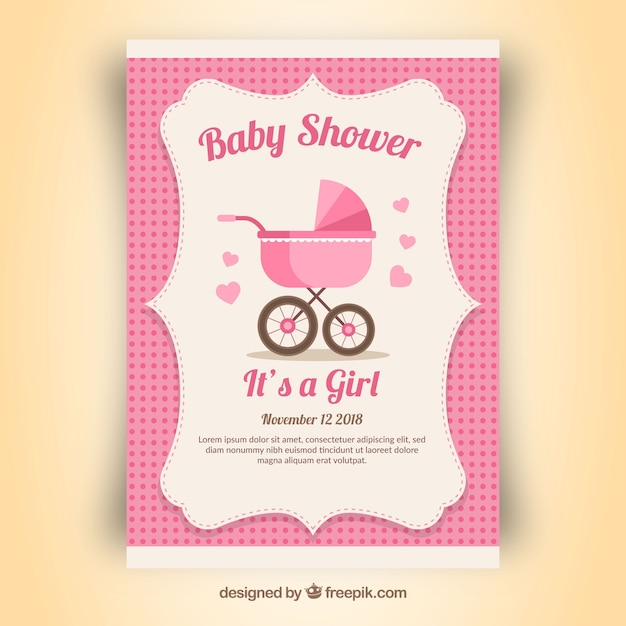 Pink Baby Shower Invitation For A Girl Vector Free Download