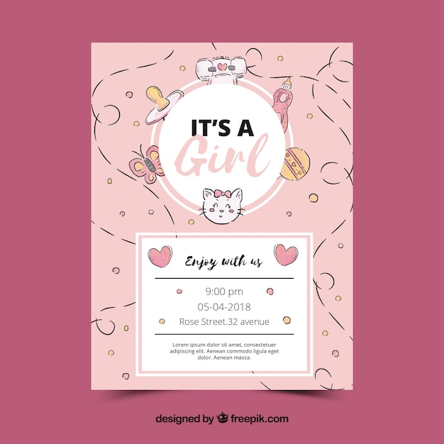 Pink Baby Shower Invitation Template Free Vector  Free Downloadable Baby Shower Invitations Templates