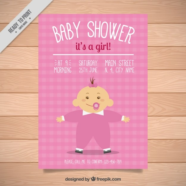 Pink baby shower invitation with a baby\ girl