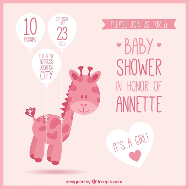 Pink baby shower invitation with a giraffe vector free download pink baby shower invitation with a giraffe free vector stopboris Images