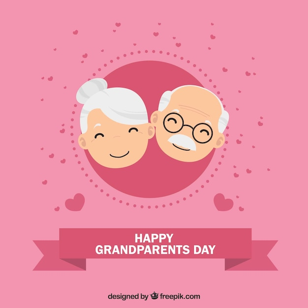 Pink background of happy grandparents with hearts Free Vector