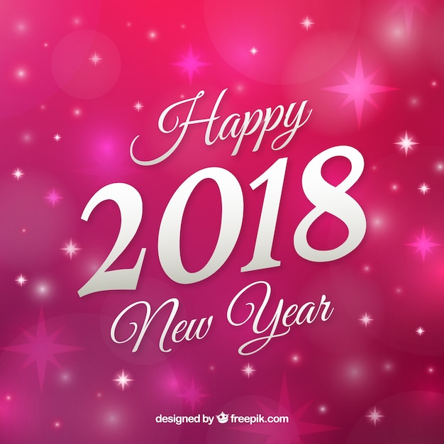 Pink background happy new year Free Vector