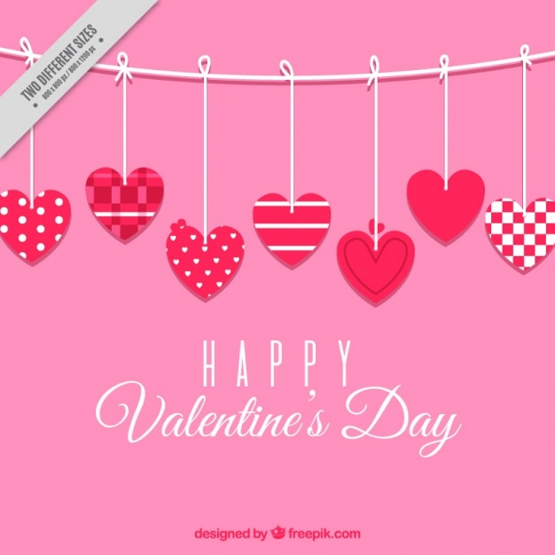 pink background of hearts with different designs for valentines day free vector - Valentines Designs