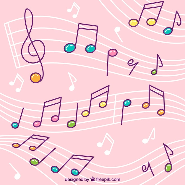 Pink background of pentagrams with colorful musical notes Free Vector