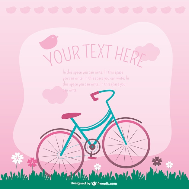 Pink background with birds and bicycle Free Vector