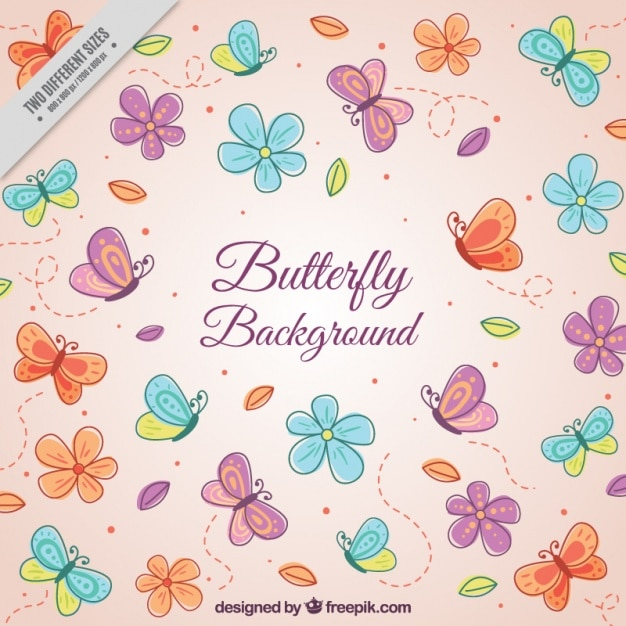 Pink background with butterflies and flowers Free Vector