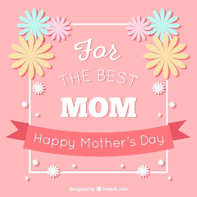 Pink background with decorative flowers for\ mother\'s day