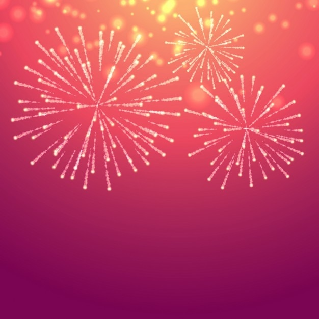 Pink background with fireworks Free Vector
