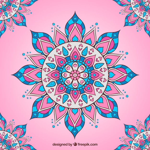 Pink background with flat mandala Free Vector