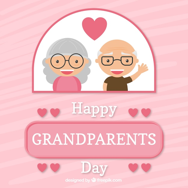 Pink background with grandparents in love in flat design