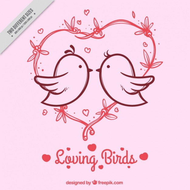 Pink background with heart and birds in\ love