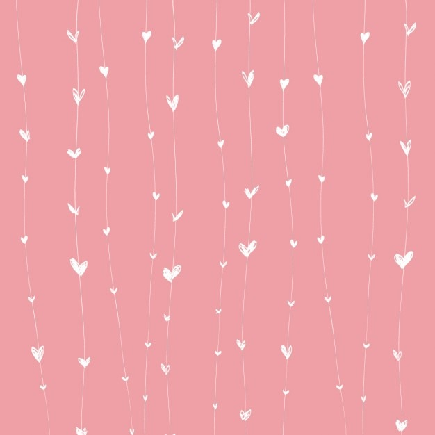 Pink background with white hearts on lines Free Vector