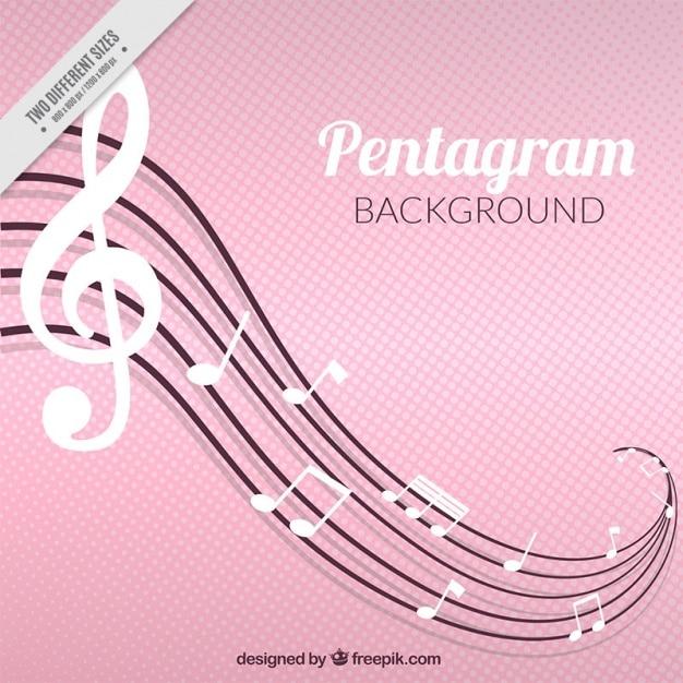 Sfondo rosa con bianche note musicali e ondulati doga Vettore gratuito